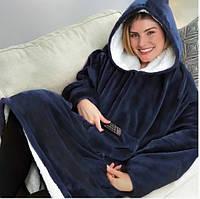 Плед толстовка двостороння Huggle Hoodie халат з капюшоном і рукавами унісекс синій