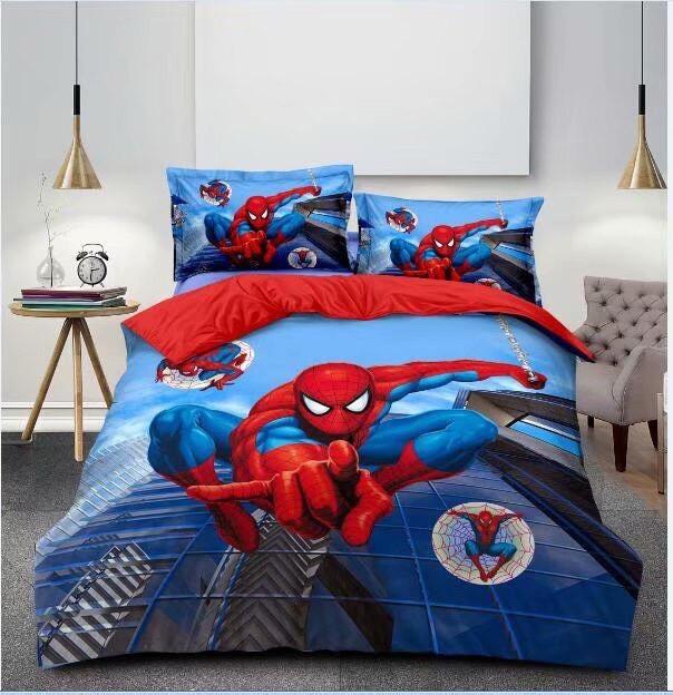 Комплект постельного белья детский Спайдермен полуторный размер Байка ( Фланель)