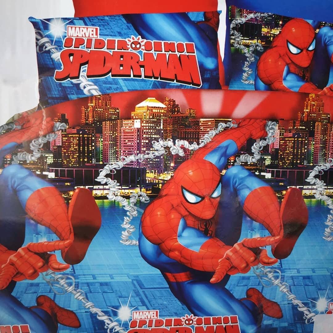 Комплект постельного белья детский  Спайдермен  полуторный размер Байка ( Фланель) Синего цвета