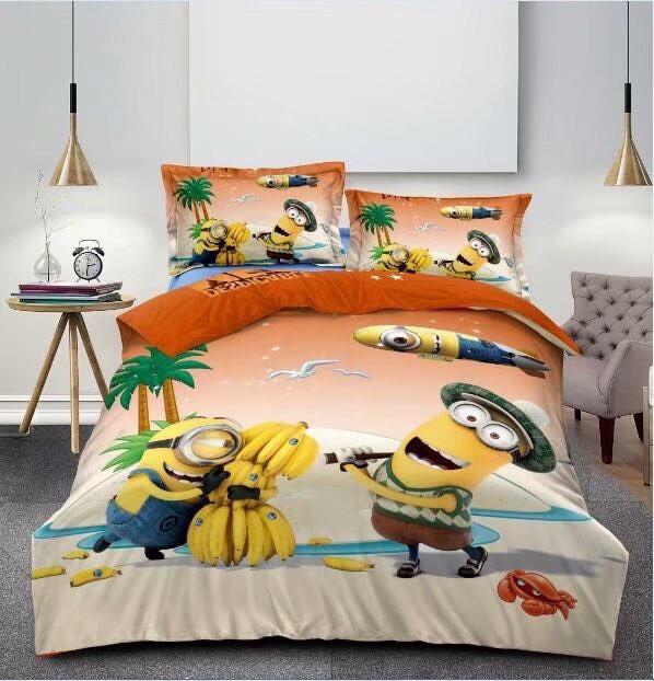 Комплект постельного белья детский Гадкий я Миньоны  полуторный размер Байка ( Фланель)