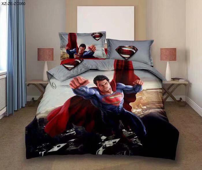 Комплект постельного белья детский Супермен полуторный размер Байка ( Фланель)