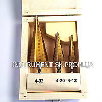Набор ступенчатых сверл 4-32мм, 3шт ( 4-12 , 4-20 , 4-32 )