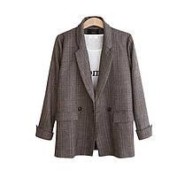 Пиджак женский классический в клеточку, коричневый, фото 1