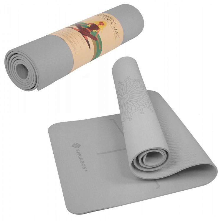 Фитнес-коврик Springos TPE 6 мм для фитнеса, йоги, пилатеса, тренировок