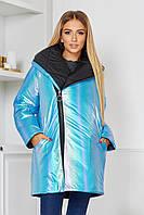 Женская зимняя сияющая двухсторонняя куртка с вышитыми надписями, фото 1
