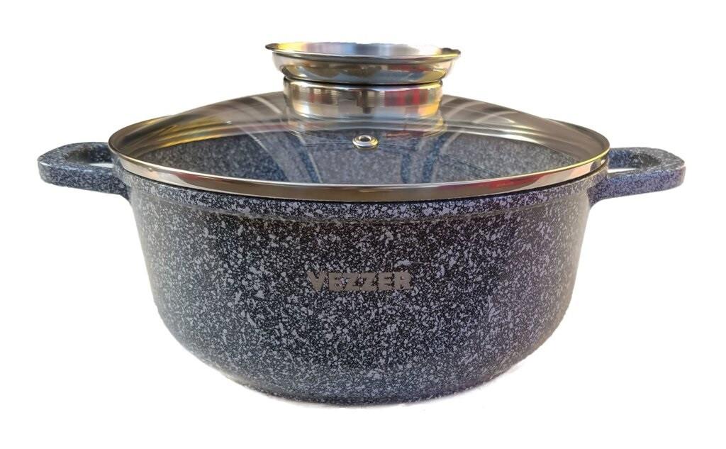 Кастрюля Vezzer, круглая, стеклянная крышка, антипригарное покрытие мрамор, алюминий, 3.5 л, серый