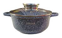 Кастрюля Vezzer, круглая, стеклянная крышка, антипригарное покрытие мрамор, алюминий, 3.5 л, серый, фото 1