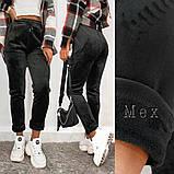 Женские спортивные штаны на шнуровке рубчик велюр на меху размер: lxl (m) ; xl2xl ( l) ; 2xl3xl ( xl), фото 2