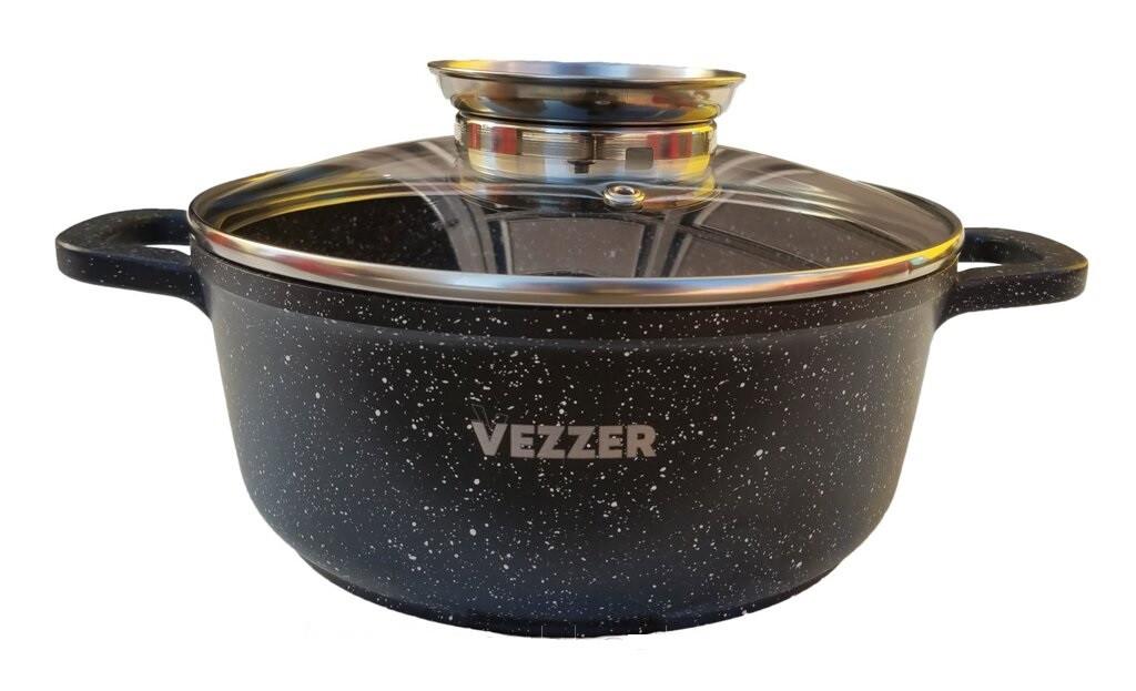 Кастрюля Vezzer, круглая, стеклянная крышка, антипригарное покрытие мрамор, алюминий, 2.5 л, черная
