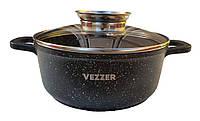 Кастрюля Vezzer, круглая, стеклянная крышка, антипригарное покрытие мрамор, алюминий, 2.5 л, черная, фото 1