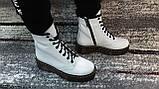 Жіночі демісезонні шкіряні черевики білого кольору в стилі Мартінс 36-40, фото 2
