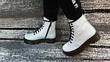 Женские демисезонные кожаные ботинки белого цвета в стиле Мартинс 36-40, фото 5