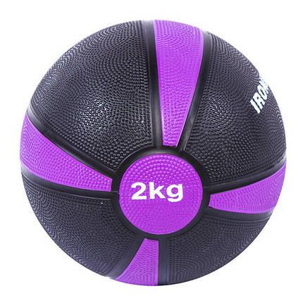 Мяч медицинский (медбол) твёрдый 2кг D=19 см, IronMaster черно-красный, фото 2