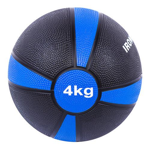 Мяч медицинский (медбол) твёрдый 4кг D=21см, IronMaster черно-синий