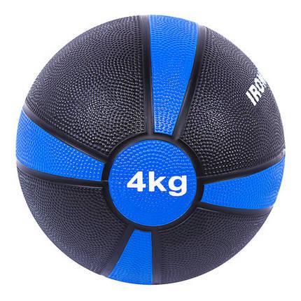 Мяч медицинский (медбол) твёрдый 4кг D=21см, IronMaster черно-синий, фото 2