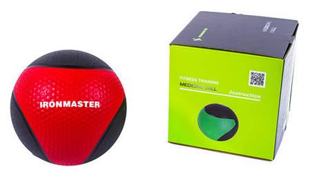 Мяч медицинский (медбол) твёрдый 1кг D=22 см, IronMaster черно-красный, фото 2