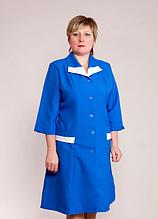 Женский медицинский синий халат для мед работников 44-60