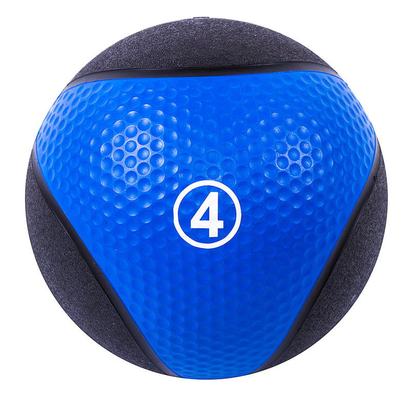 Мяч медицинский (медбол) твёрдый 4кг D=22 см, IronMaster черно-синий
