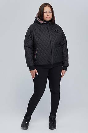 Двостороння жіноча куртка демі з підкладкою з еко-хутра великого розміру від 48 до 64, фото 2