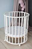 Детская кроватка овальная/ круглая трансформер 10 в 1 с матрасом, фото 4