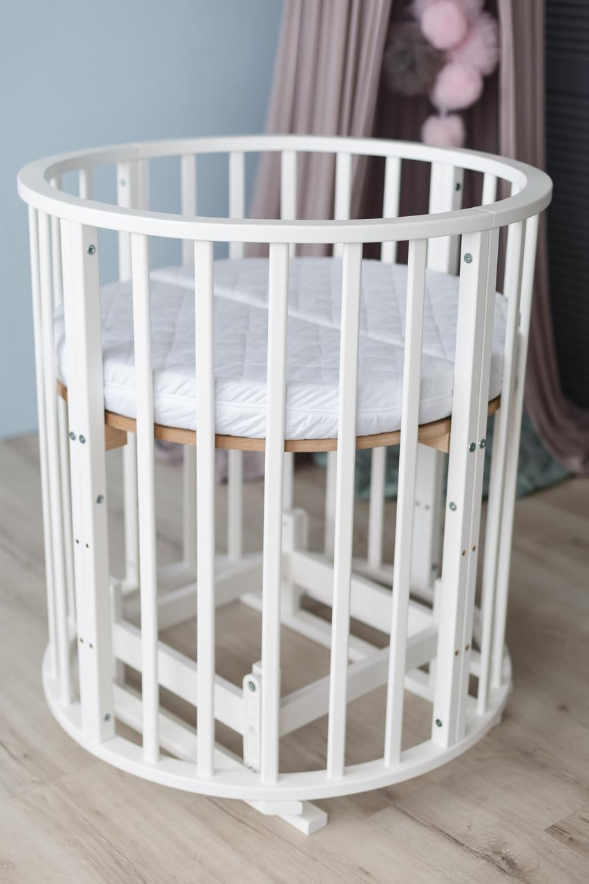 Детская кроватка овальная/ круглая трансформер 10 в 1 с матрасом