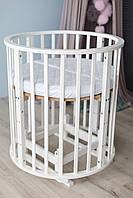 Детская кроватка овальная/ круглая трансформер 10 в 1 с матрасом, фото 1