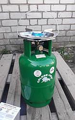 Туристичний газовий балон-пікнік Rudyy VIP посилений з пальником на 12 літрів кран - Італія