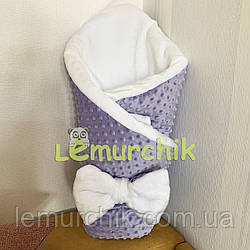 Конверт-одеяло минки на махре, сиреневый