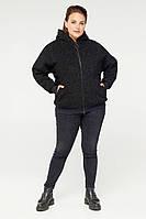Двусторонняя женская куртка деми с подкладкой из эко-меха большого размера от 48 до 64
