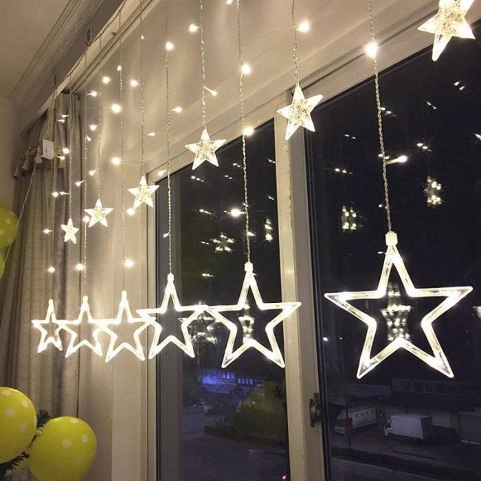 Новогодняя гирлянда штора Звездный занавес 2,5 м (белый)