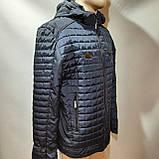 Чоловіча куртка весна/осінь, демісезонна на тонкому синтепоні куртка темно синя, фото 6