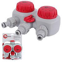 """Таймер подачи воды для полива, 2х канальный, автоматический с фильтром + 3 адаптера с резьбой 1/2"""" INTERTOOL GE-2012"""