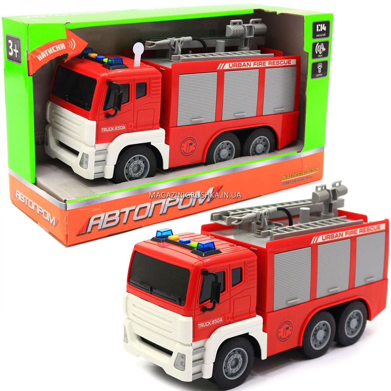 Машинка игровая автопром «Пожарная машина» (свет, звук), 29х10х14 см (7936AB)