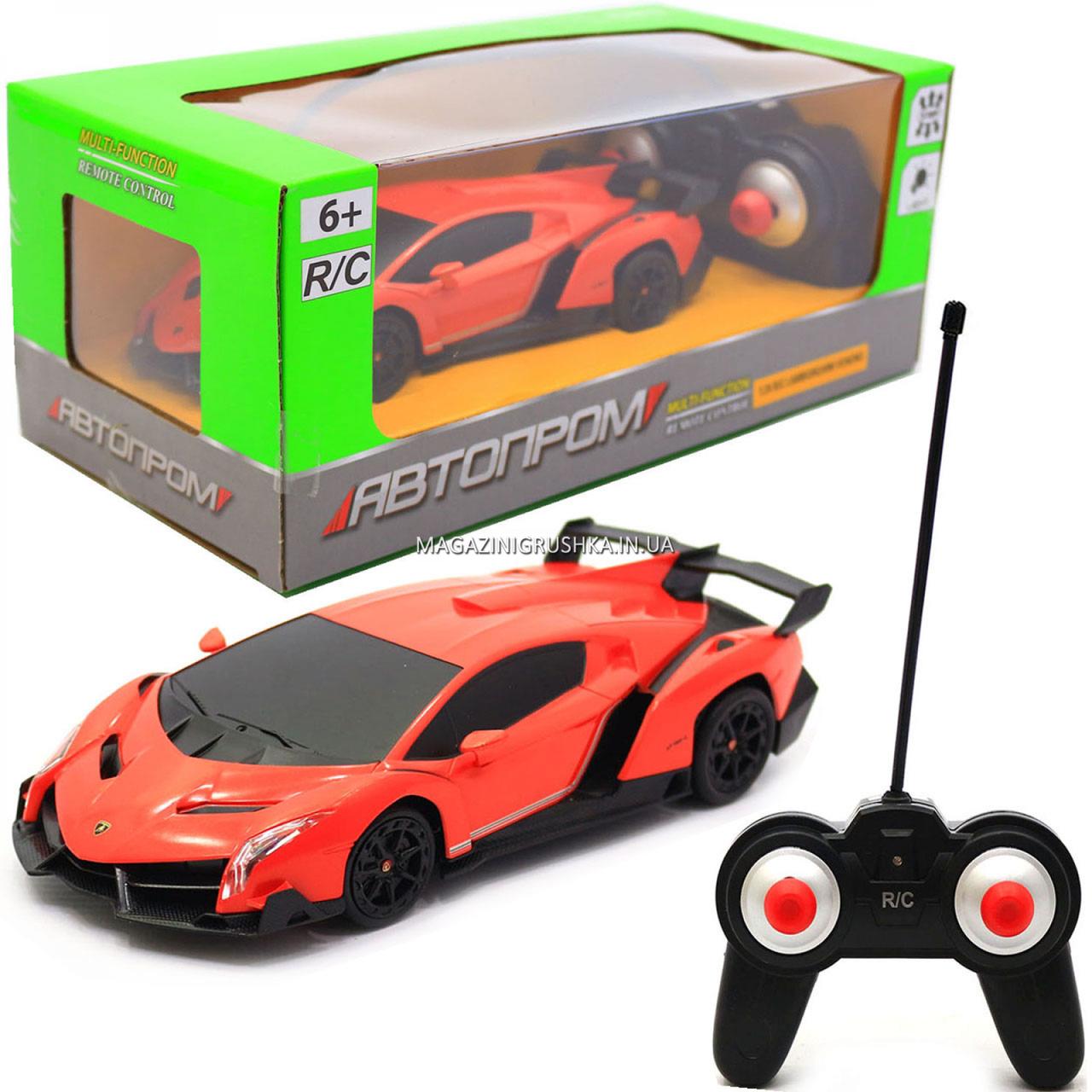 Машинка игровая автопром на радиоуправлении Lamborghini veneno (ламборджини) красный (8808)