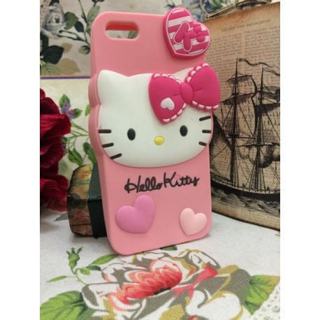 Силиконовый Чехол Hello Kitty на IPhone 5/5S Розовый