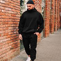 Спортивный костюм мужской теплый ЗИМНИЙ с капюшоном на флисе оверсайз черный. Живое фото. Чоловічий костюм