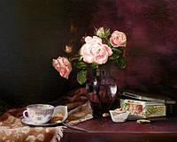 """""""Натюрморт с розами"""" 60 см x 50 см, код: 0123 — Картина маслом купить"""
