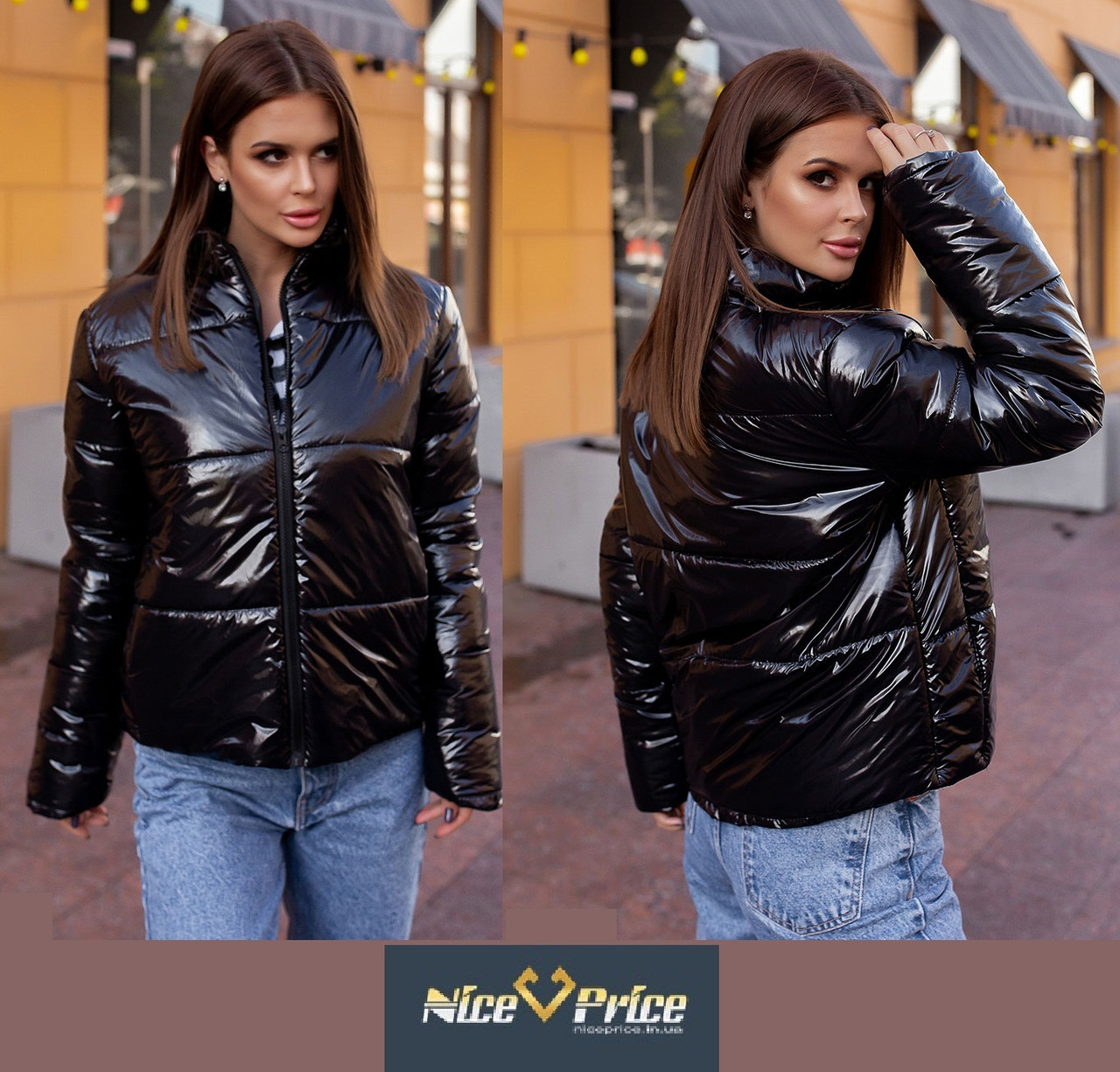 Черная женская куртка из лаковой плащевки Moncler 42 44 46