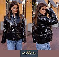Черная женская куртка из лаковой плащевки Moncler 42 44 46, фото 1