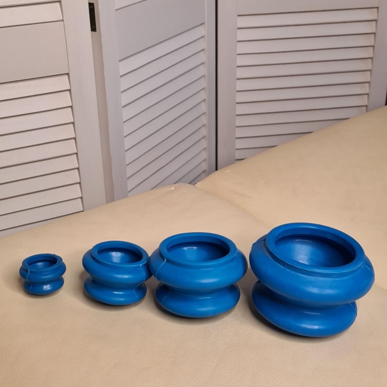 Резинові масажні вакуумні банки 4 штуки для масажу синие Резиновые массажные вакуумные банки для масса