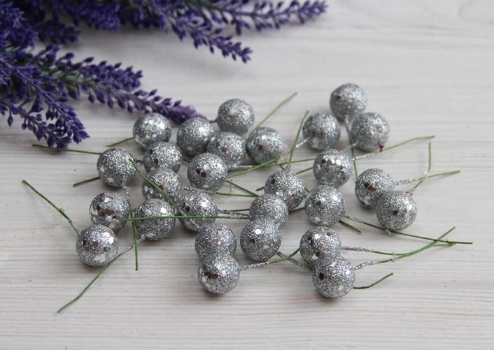 Ягодка на палочке с блестками КРУПНАЯ , серебро   400 шт