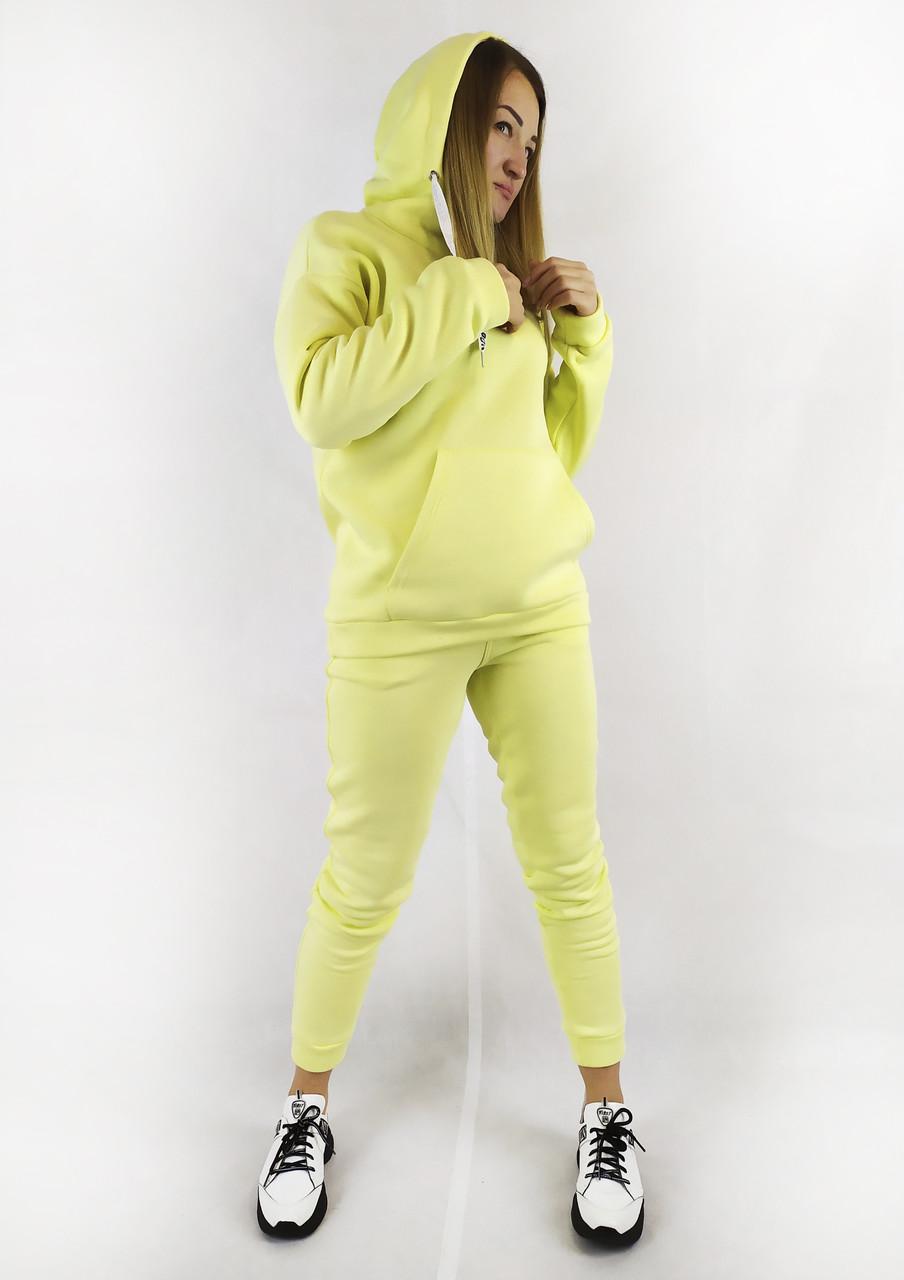 Повседневный спортивный костюм для женщин с кофтой и брюками в ярком желтом цвете XL, XXL, 3XL