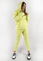 Повседневный спортивный костюм для женщин с кофтой и брюками в ярком желтом цвете XL, XXL, 3XL, фото 1