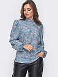 Принтованная блузка с воротником стойка и длинным рукавом, фото 8