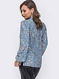 Принтованная блузка с воротником стойка и длинным рукавом, фото 10