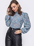 Принтованная блузка с воротником стойка и длинным рукавом, фото 9