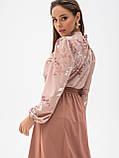 Принтованная блузка с воротником стойка и длинным рукавом, фото 7