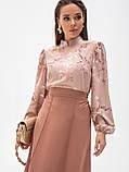 Принтованная блузка с воротником стойка и длинным рукавом, фото 6