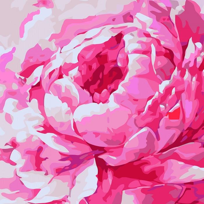 """Картина по номерам """"Рожева півонія 2"""" 30*30см"""