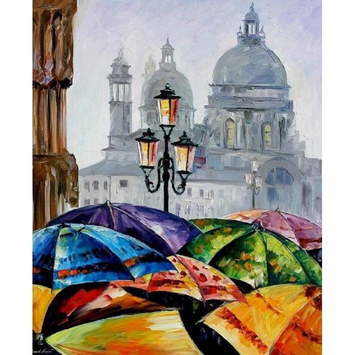 """Картина по номерам Міський пейзаж """"Яскраві парасольки"""" 40*50см"""